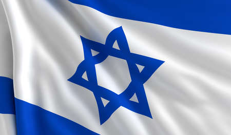 A flag of Israel in the wind photo