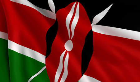 A flag of Kenya in the wind photo