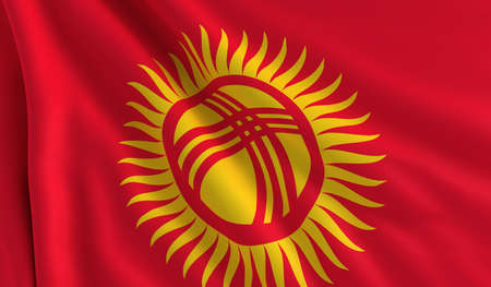 A flag of Kyrgyzstan in the wind Stock Photo - 12725190