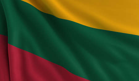flapping: A flag of Lithuania in the wind