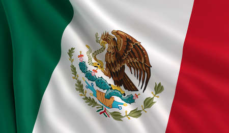 A flag of Mexico in the wind