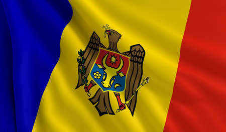 A flag of Moldova in the wind photo