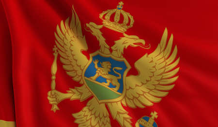 A flag of Montenegro in the wind photo