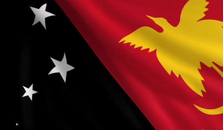 flapping: A flag of Papua New Guinea in the wind