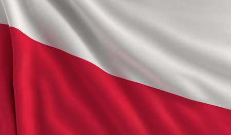 bandera de polonia: Una bandera de Polonia en el viento Foto de archivo