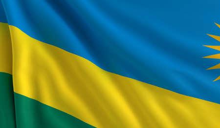 A flag of Rwanda in the wind photo