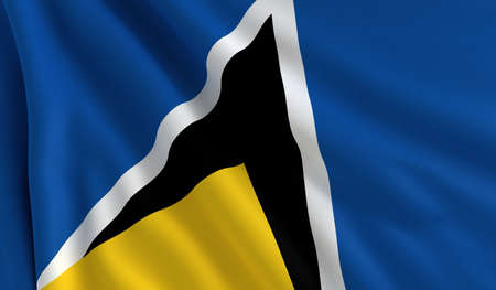 A flag of Saint Lucia in the wind photo