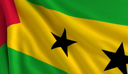principe: Una bandera de Santo Tomé y Príncipe en el viento Foto de archivo
