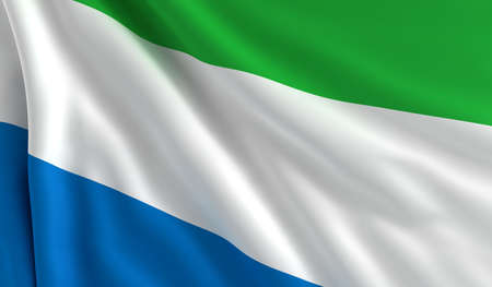 A flag of Sierra Leone in the wind