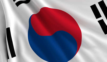 A flag of South Korea in the wind photo