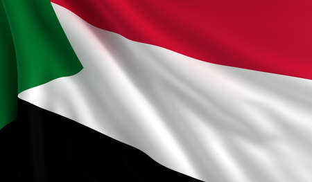 sudan: A flag of Sudan in the wind Stock Photo