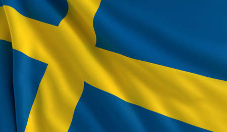 A flag of Sweden in the wind photo