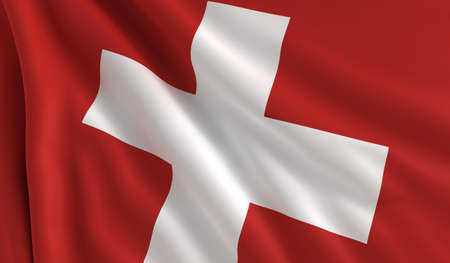 switzerland flag: A flag of Switzerland in the wind