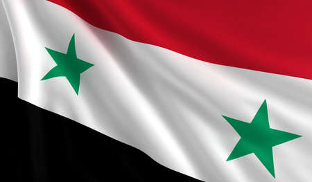 A flag of Syria in the wind photo