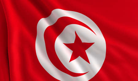 A flag of Tunisia in the wind photo