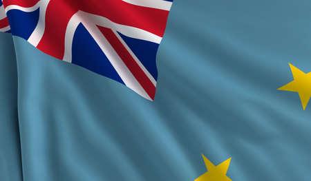 tuvalu: A flag of Tuvalu in the wind