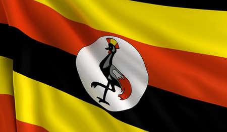 A flag of Uganda in the wind photo