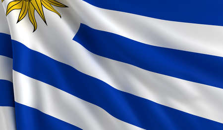 uruguay: A flag of Uruguay in the wind
