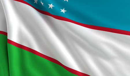 A flag of Uzbekistan in the wind photo