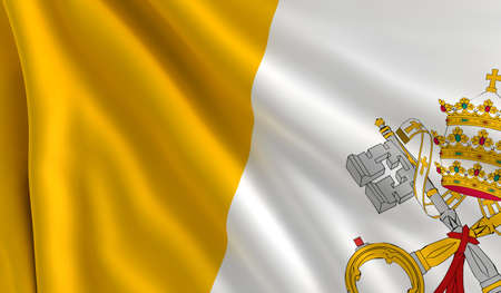 vatican city: A flag of Vatican City in the wind