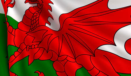 A flag of Wales in the wind photo