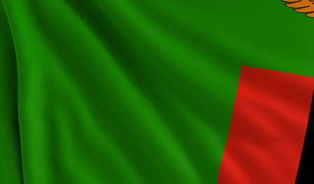 zambia: A flag of Zambia in the wind