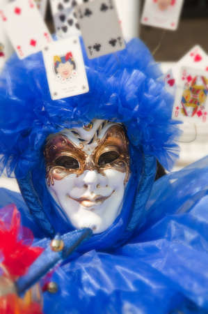 venezia: Traditional blue mask of the venice carnival