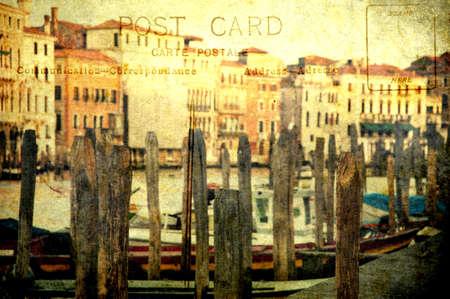 Grunge panoramic of Grand Canal like a postcard photo