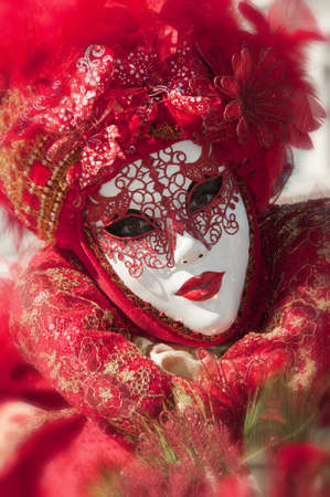 Traditional red mask of the venice carnival