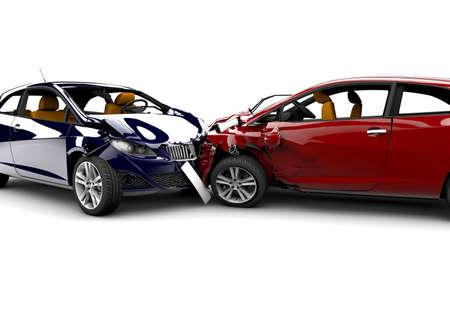 白い背景上に分離されて事故で 2 台の車