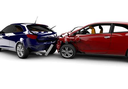 crush on: Dos coches en un accidente aislado en un fondo blanco