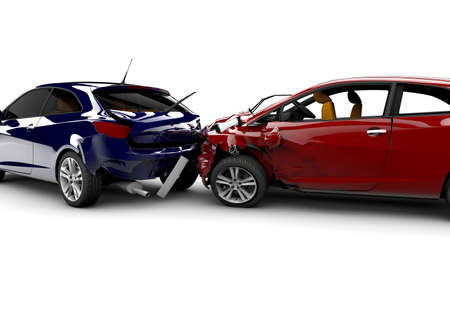 Due auto in un incidente isolato su uno sfondo bianco Archivio Fotografico