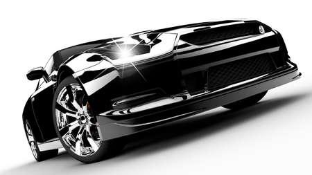 silhouette voiture: Une voiture moderne et élégant noir éclairé