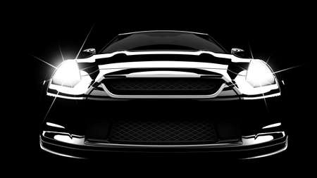 headlights: A modern and elegant black car illuminated Stock Photo