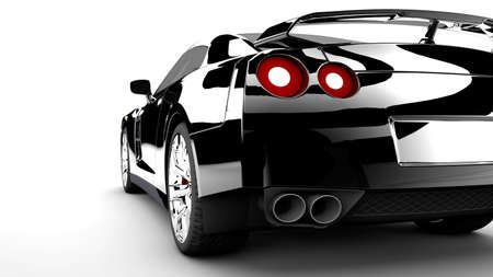 red sports car: A modern and elegant black car with red lights Stock Photo