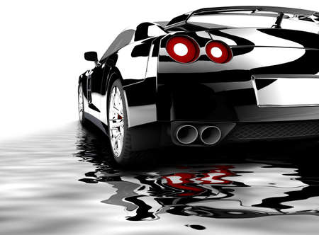 A modern black car reflected on water