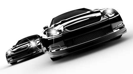 2 つの黒い車が白い背景の上を実行 写真素材 - 12725350