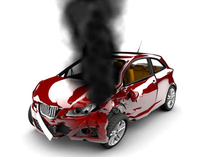 A red accident car is burned on a white background photo
