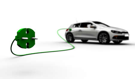 refuel: A white electric car refuel with power Stock Photo