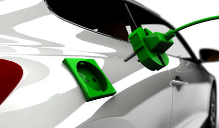 car plug: A white electric car refuel with power Stock Photo