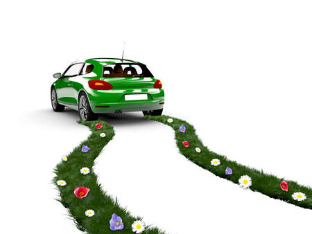 A green car drive and create grass with flowers photo