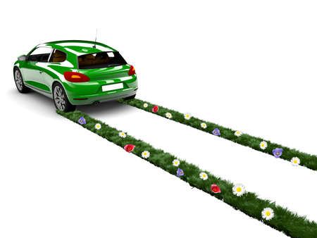 A green car drive and create grass with flowers Stock Photo