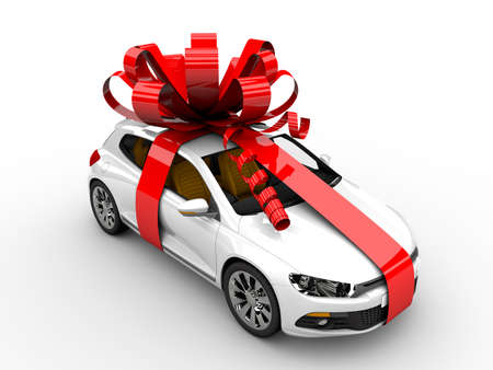 present presentation: Modern white car with ribbon like a present