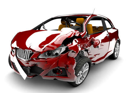 damages: A red car in an accident isolated on a white background