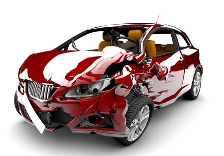 Una macchina rossa in un incidente isolato su uno sfondo bianco