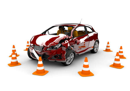 A red  car in an accident with many traffic cone around