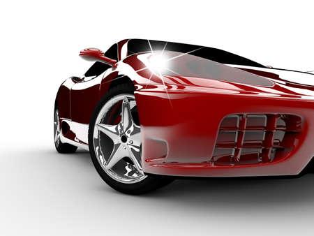 presti: Nowoczesny i elegancki czerwony samochód oÅ›wietlony Zdjęcie Seryjne