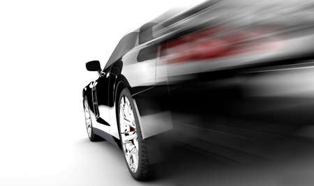 dream car: Un auto negro moderno y elegante, está en ejecución
