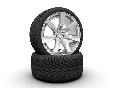 tire change: Two wheel isolated on a white background Stock Photo