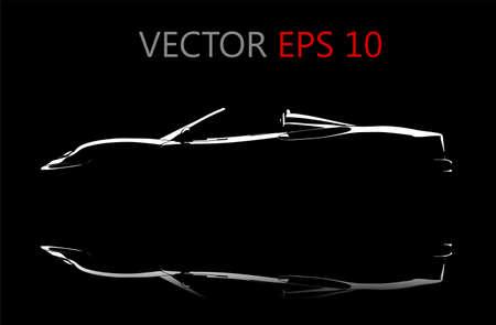 silhouette voiture: Une réflexion voiture noire